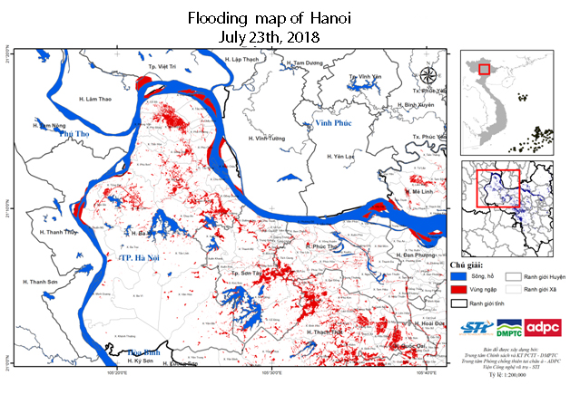 Collecting satellite images, building flooding map of Hanoi